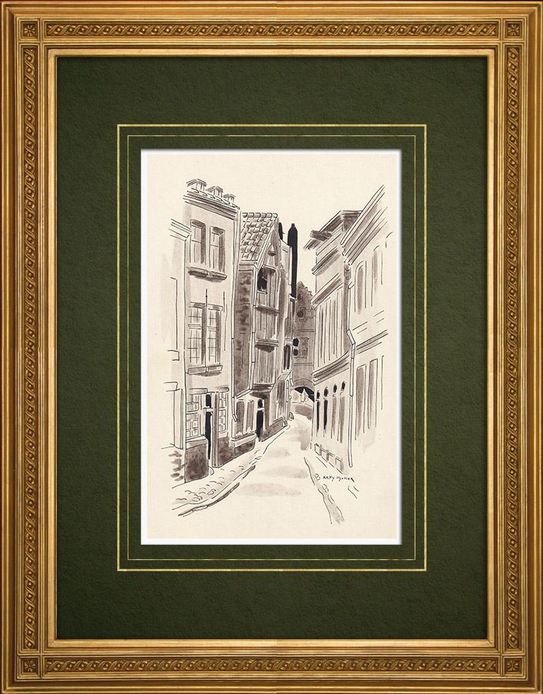 Antique Prints & Drawings   Old houses of Antwerp - Belgium (Ketty Muller)   Drawing   1947