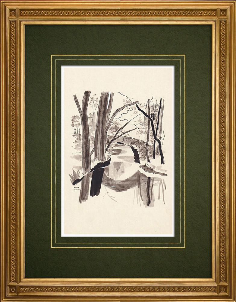 Gravures Anciennes & Dessins | Parc de Boekenberg à Anvers - Belgique (Ketty Muller) | Dessin | 1947