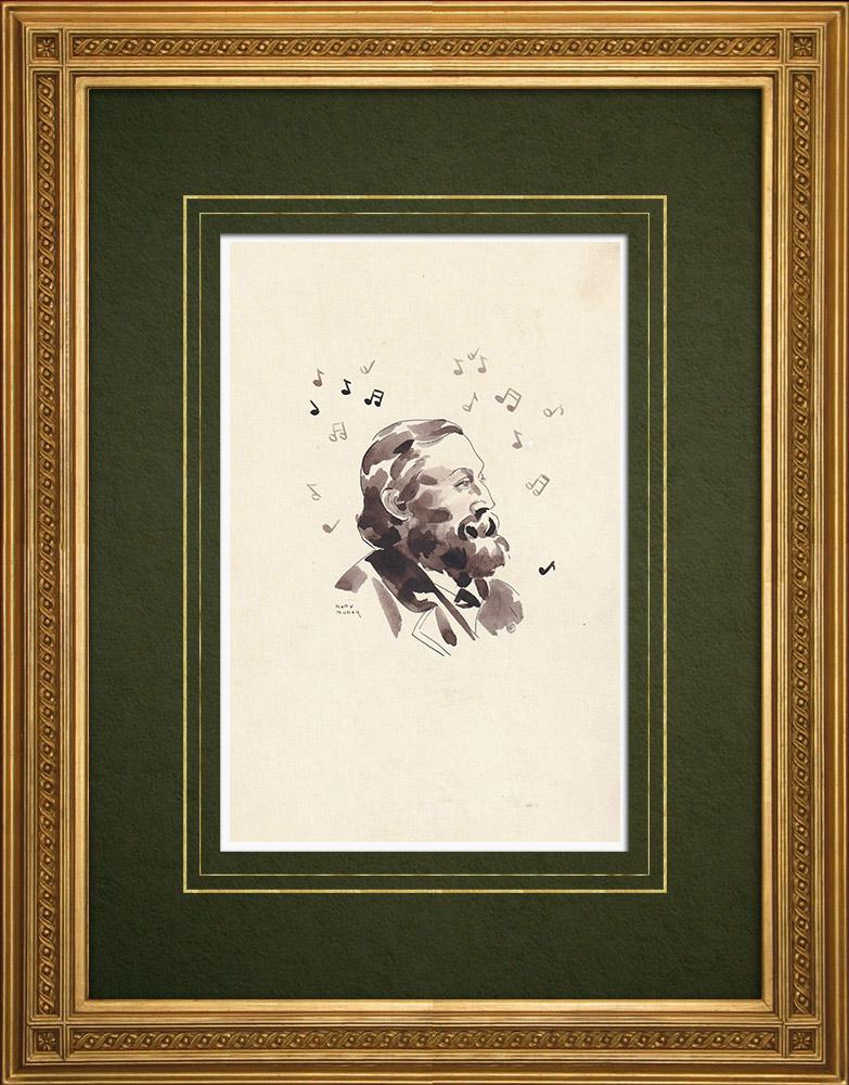 Gravures Anciennes & Dessins   Portrait de Peter Benoit - Compositeur flamand (Ketty Muller)   Dessin   1947