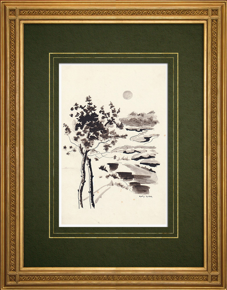 Antique Prints & Drawings | Landscape of the province of Antwerp - Heath (Ketty Muller) | Drawing | 1947
