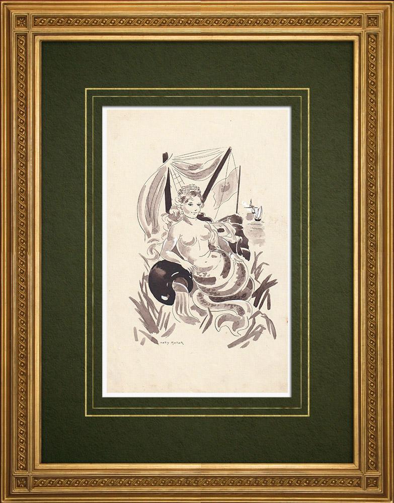 Antique Prints & Drawings | Antwerp - Allegory - Belgium (Ketty Muller) | Drawing | 1947