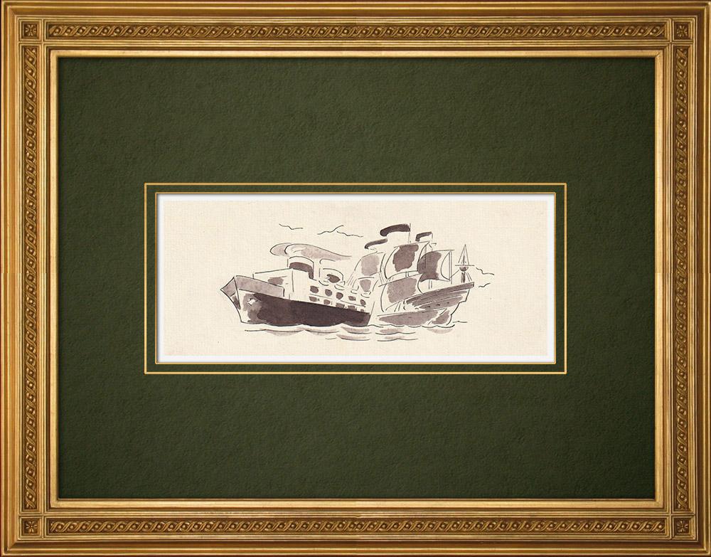 Antique Prints & Drawings | Antwerp - Belgium - Cul-de-lampe - Antverpia Mater Artium et Mercatorum 2/26 | Drawing | 1947