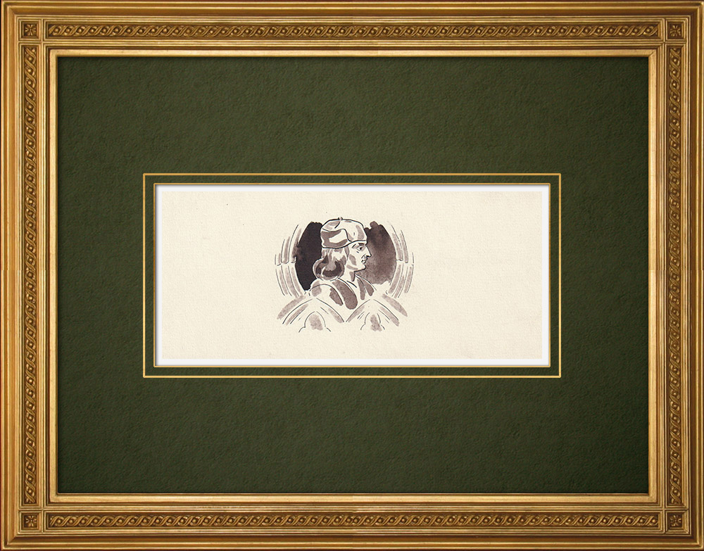 Antique Prints & Drawings | Antwerp - Belgium - Cul-de-lampe - Antverpia Mater Artium et Mercatorum 25/26 | Drawing | 1947
