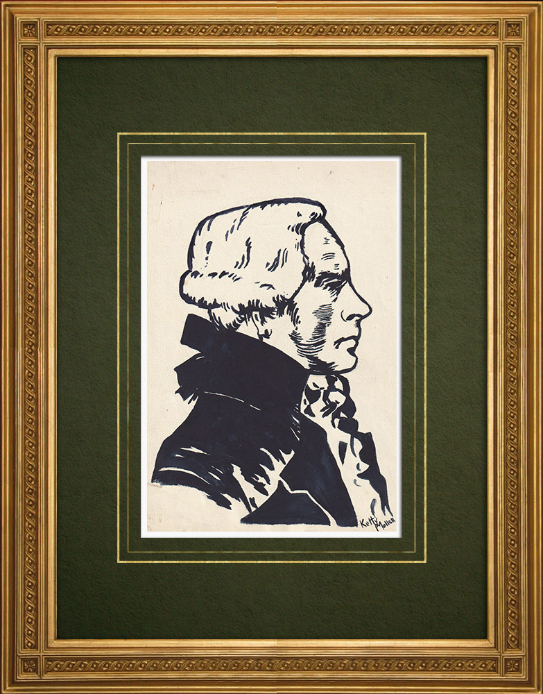 Antique Prints & Drawings | Portrait of Robespierre (Ketty Muller) | Drawing | 1947