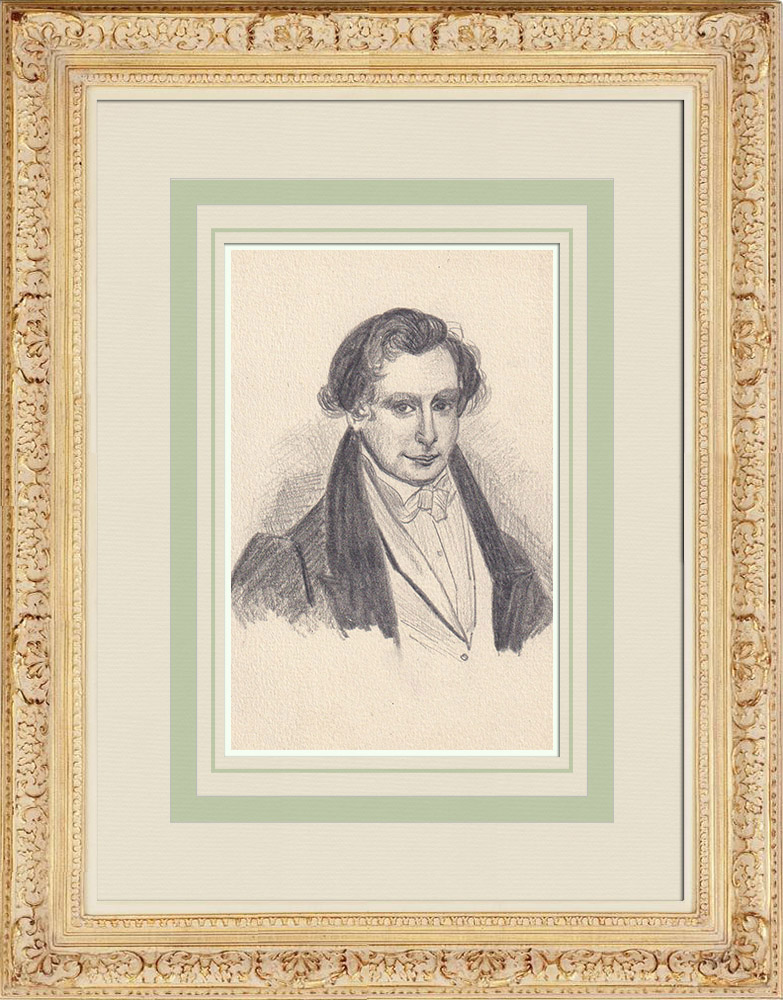 Antique Prints & Drawings   Portrait of Victor Hugo, young (Ketty Muller)   Drawing   1947