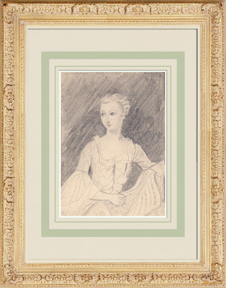 Grabados & Dibujos Antiguos | Retrato de Madame de Pompadour -  Jeanne Antoinette Poisson (Ketty Muller) | Dibujo | 1947