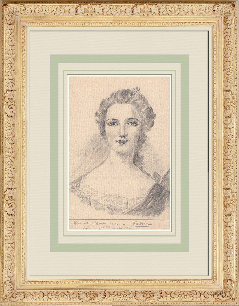 Antique Prints & Drawings | Portrait of Louise Henriette of Bourbon, Duchess of Orléans (Ketty Muller) | Drawing | 1947