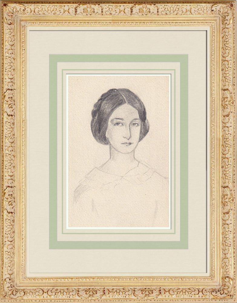 Antique Prints & Drawings | Portrait of Léopoldine Hugo, daughter of Victor Hugo (Ketty Muller) | Drawing | 1947
