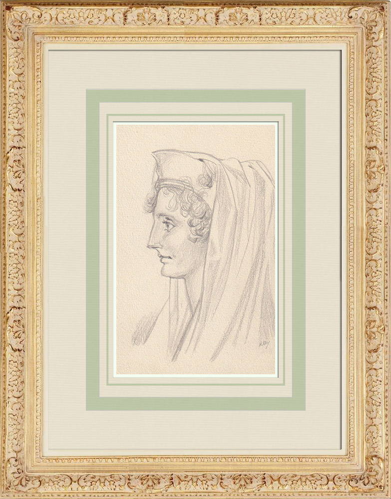 Gravures Anciennes & Dessins | Portrait de Alix de Lamartine (Ketty Muller) | Dessin | 1947