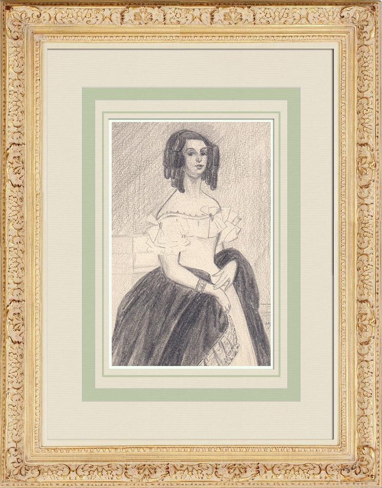 Gravures Anciennes & Dessins | Portrait de Adèle Foucher, épouse de Victor Hugo (Ketty Muller) | Dessin | 1947
