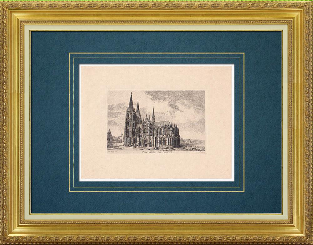 Gravures Anciennes & Dessins | Cathédrale de Cologne - Rhénanie-du-Nord-Westphalie (Allemagne) | Gravure à l'eau-forte | 1910
