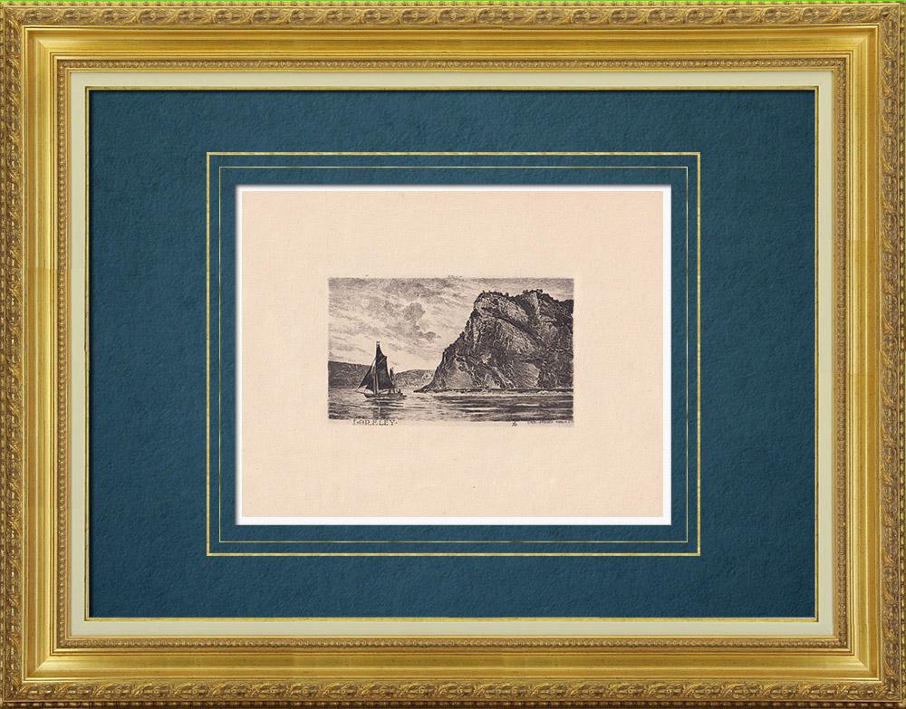 Antique Prints & Drawings | Rock of Lorelei - Loreley - Sankt Goarshausen - Rhine - Rhineland-Palatinate (Germany) | Strong water etching | 1910