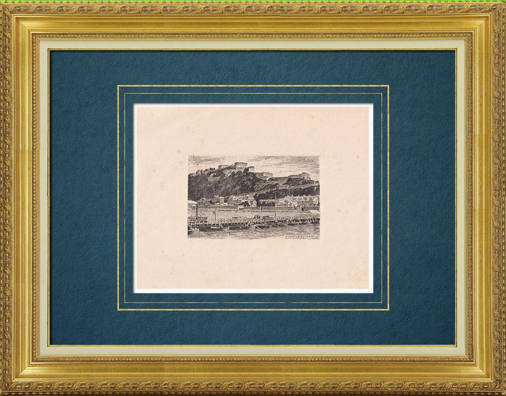 Gravures Anciennes & Dessins | Vue d'Ehrenbreitstein - Forteresse - Rhin - Rhénanie-Palatinat (Allemagne) | Gravure à l'eau-forte | 1910