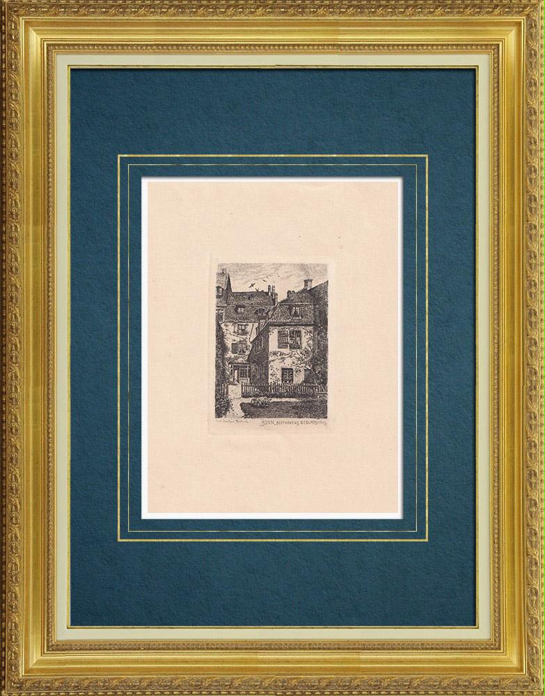 Gravures Anciennes & Dessins | Maison natale de Beethoven - Bonn - Rhin - Rhénanie-du-Nord-Westphalie (Allemagne) | Gravure à l'eau-forte | 1910