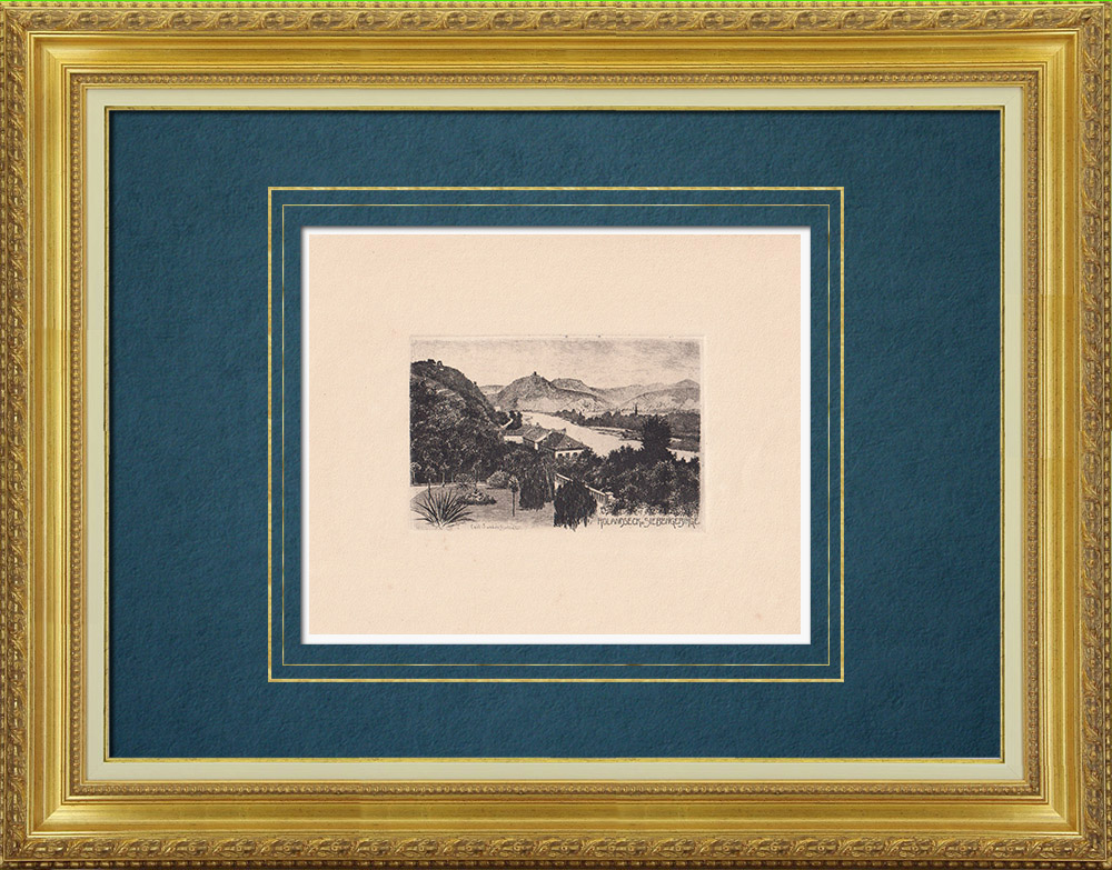 Gravures Anciennes & Dessins | Rhin - Rolandseck - Siebengebirge - Rhénanie-Palatinat (Allemagne) | Gravure à l'eau-forte | 1910
