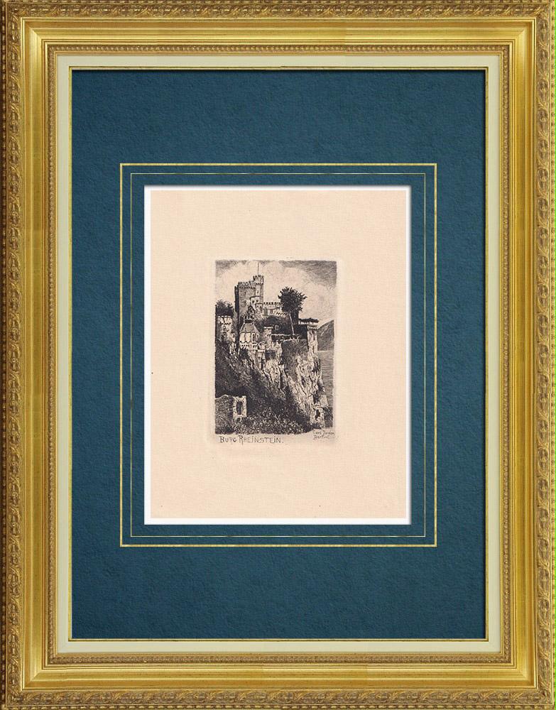 Gravures Anciennes & Dessins | Château de Rheinstein - Burg Rheinstein - Rhin - Rhénanie-Palatinat (Allemagne) | Gravure à l'eau-forte | 1910