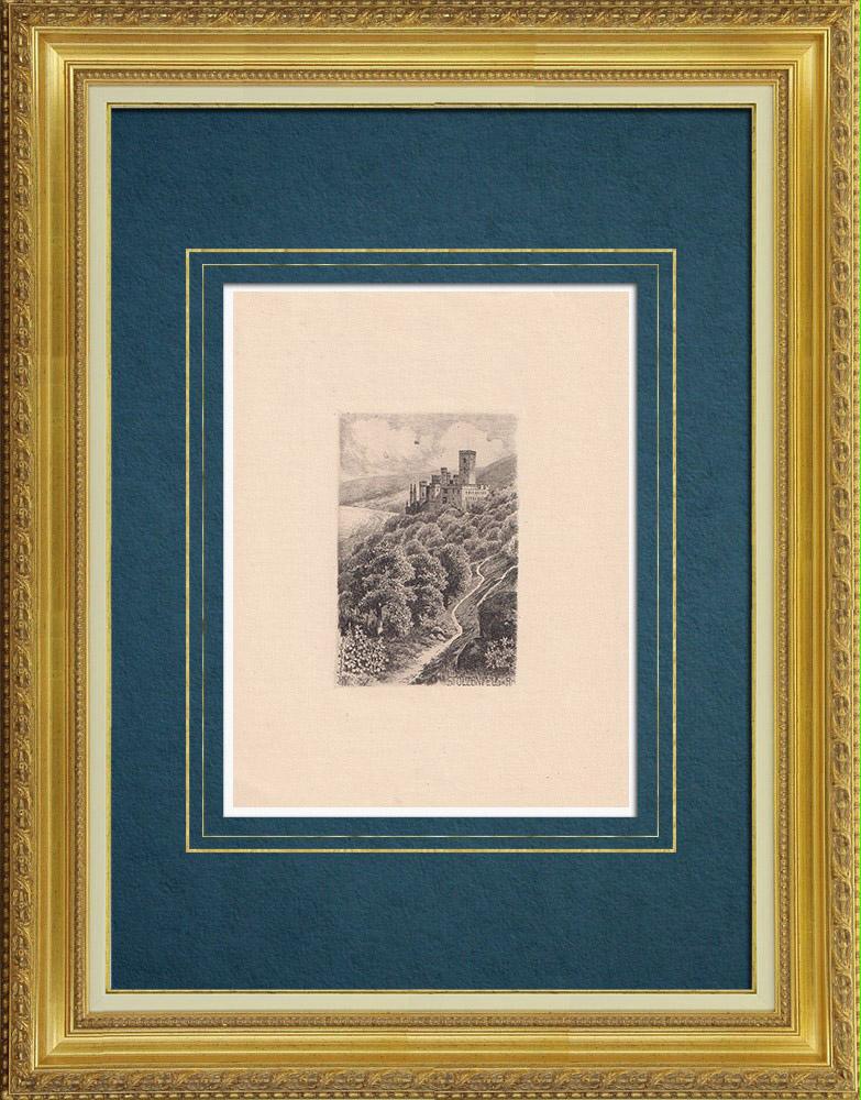 Grabados & Dibujos Antiguos | Castillo de Stolzenfels - Schloss Stolzenfels - Coblenza - Rin (Alemania) | Grabado al aguafuerte | 1910
