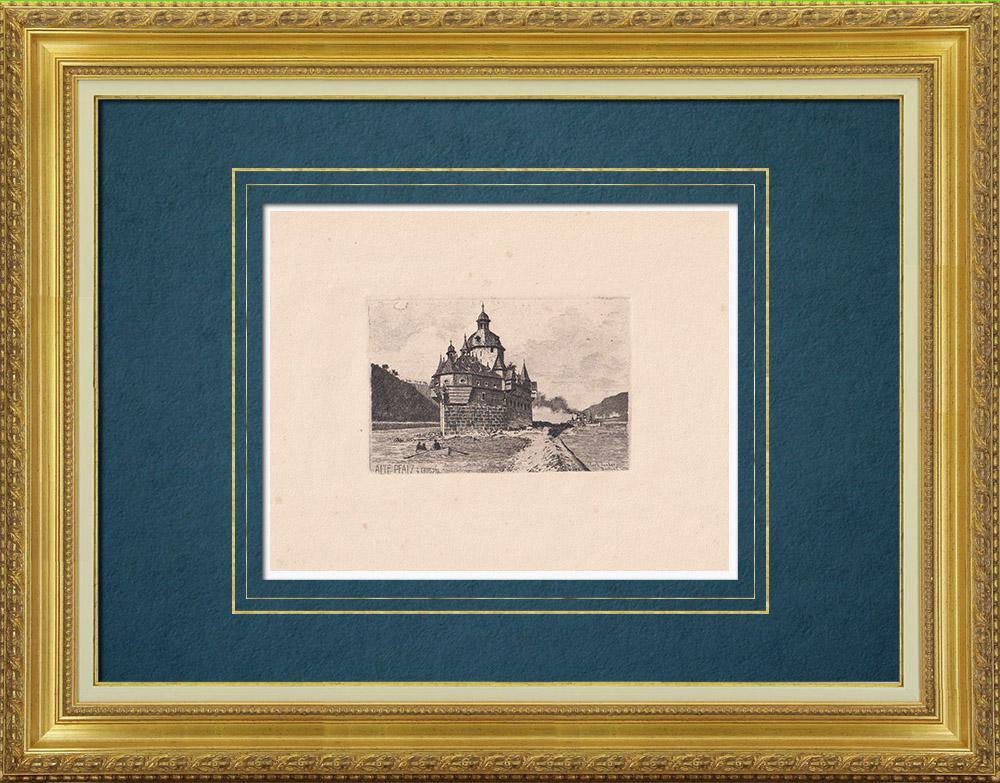 Antique Prints & Drawings | View of Kaub - Rhine - Castle - Burg Pfalzgrafenstein (Germany) | Strong water etching | 1910