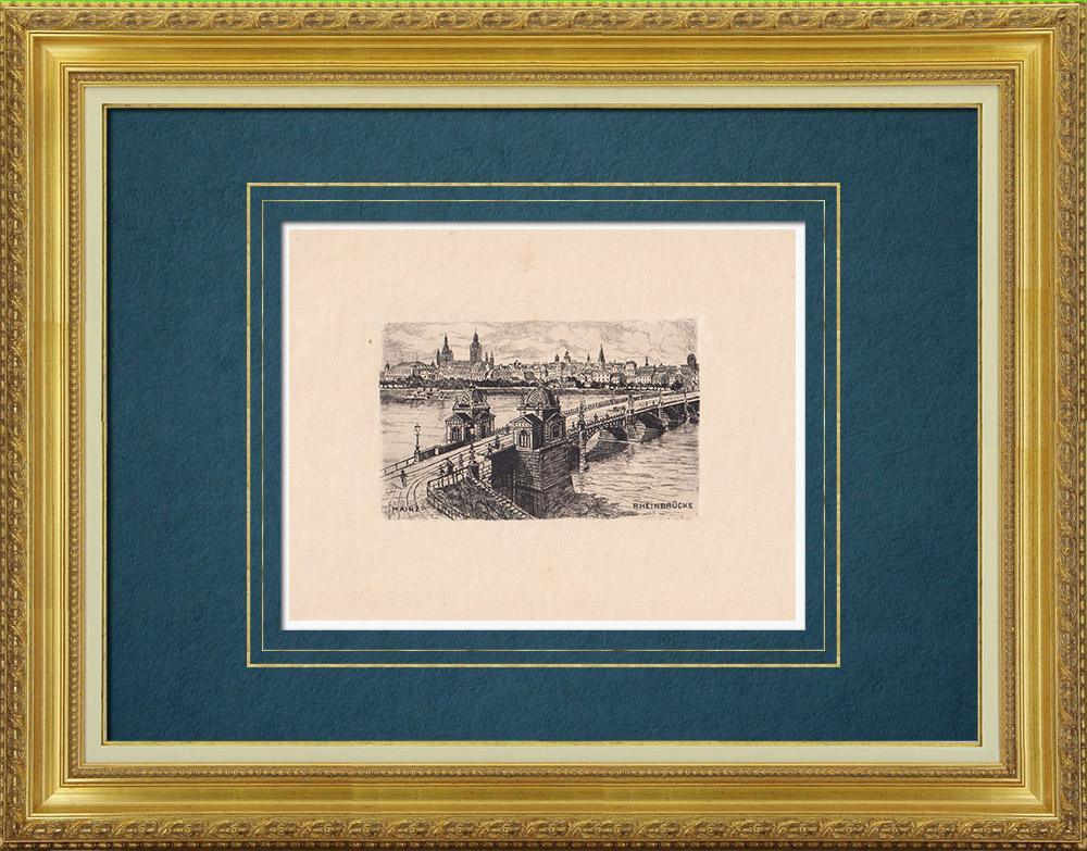 Gravures Anciennes & Dessins | Pont Theodor-Heuss sur le Rhin à Mayence - Rhénanie-Palatinat (Allemagne) | Gravure à l'eau-forte | 1910