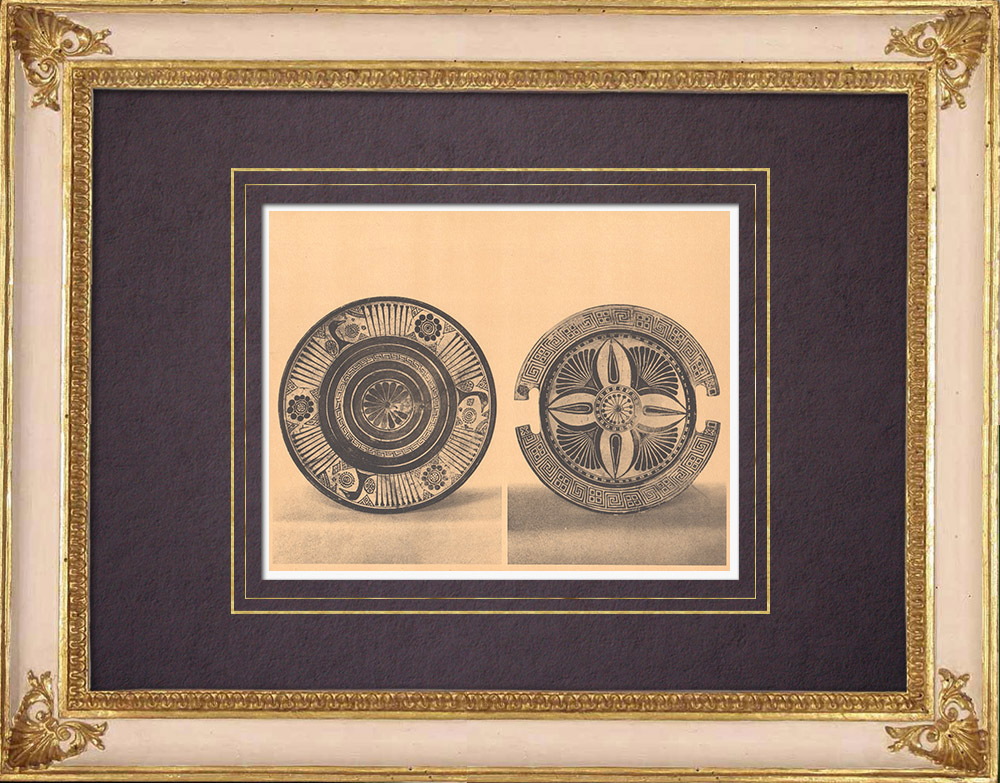 Antique Prints & Drawings | Greek vases - Cup - Platter - VIIth Century (Rhodes) | Heliogravure | 1929