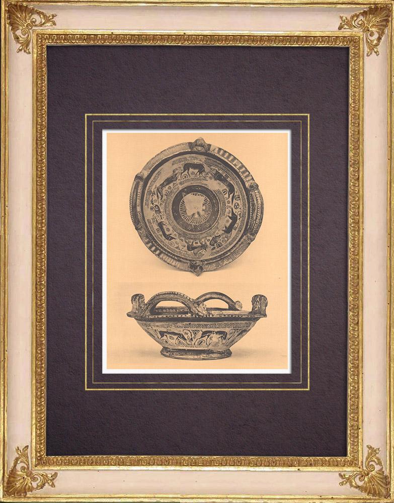 Gravures Anciennes & Dessins | Vases grecs - Coupe - VIIème Siècle (Naucratis) | Héliogravure | 1929