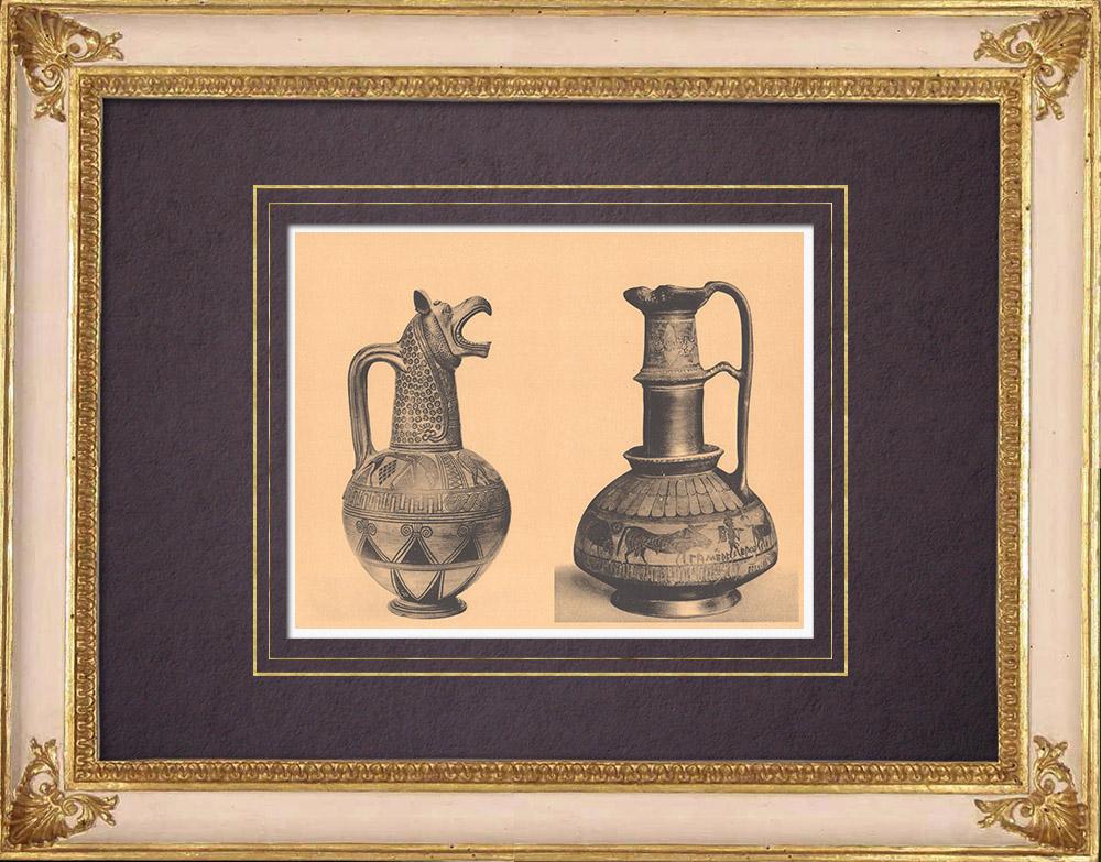 Antique Prints & Drawings   Greek vases - Oenochoe - Gamédes  - VIIth Century (Aegina - Tanagra)   Heliogravure   1929