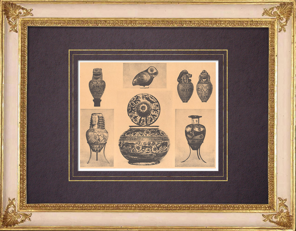 Gravures Anciennes & Dessins | Vases grecs - Parfum - Aryballe - Pyxide - VIIème Siècle | Héliogravure | 1929