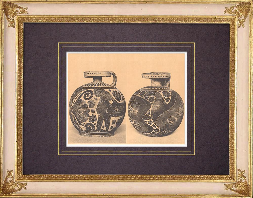 Gravures Anciennes & Dessins | Vases grecs - Aryballes corinthiens - VIIème Siècle (Tanagra) | Héliogravure | 1929