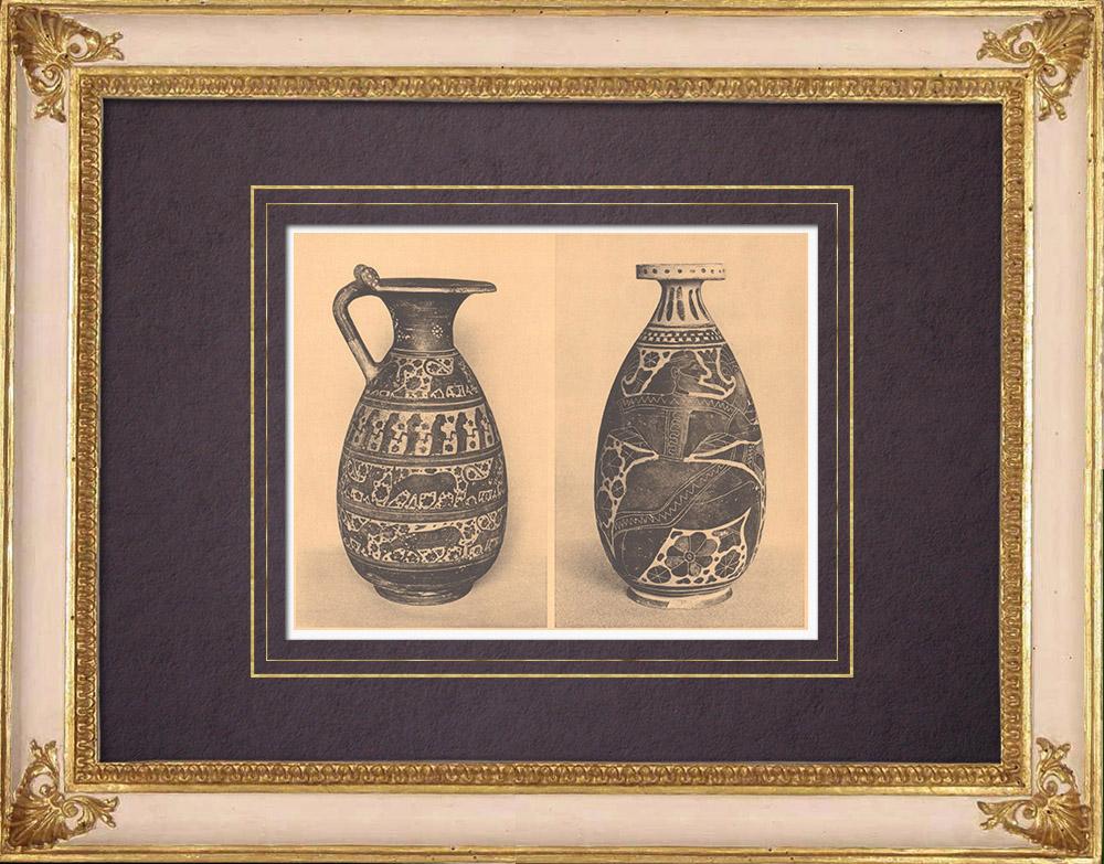 Grabados & Dibujos Antiguos   Jarrones griegos - Enócoe y Alabastrón coríntio - Siglo VII (Tanagra)   Heliograbado   1929