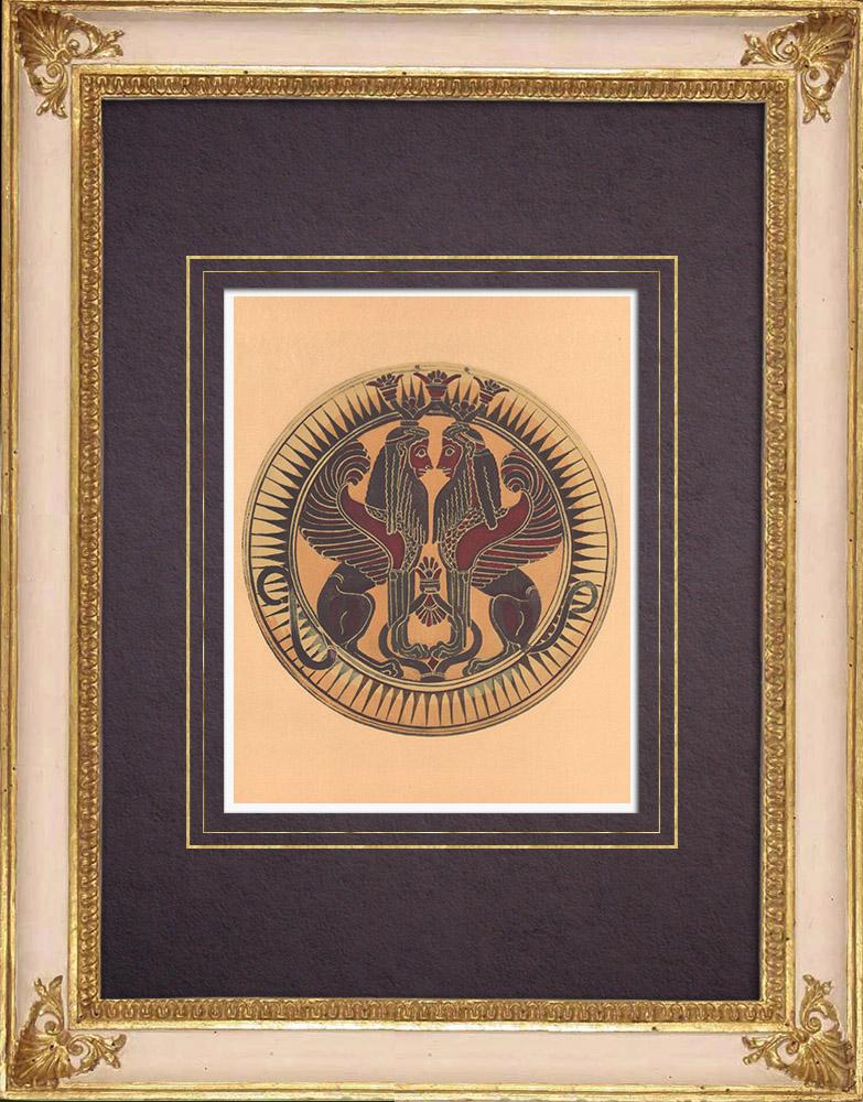 Antique Prints & Drawings | Greek vases - Corinthian platter - Sphinx - VIIth Century | Heliogravure | 1929