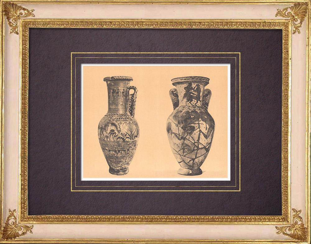 Antique Prints & Drawings | Greek vases - Hydria - Amphora (Athens) | Heliogravure | 1929