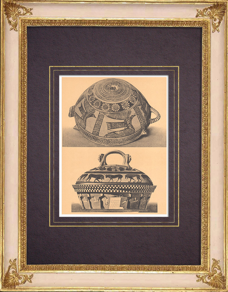 Antique Prints & Drawings | Greek vases - Cup (Thebes) - Vase (Asia Minor) | Heliogravure | 1929