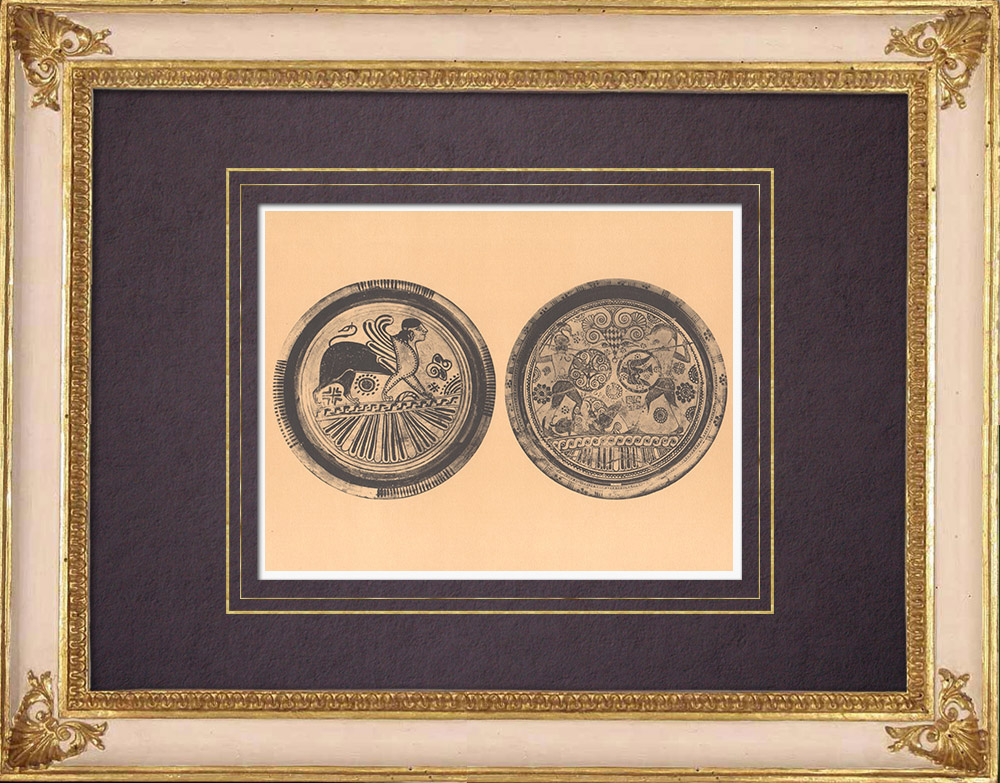Antique Prints & Drawings | Greek vases - Platters - VIth Century (Rhodes) | Heliogravure | 1929