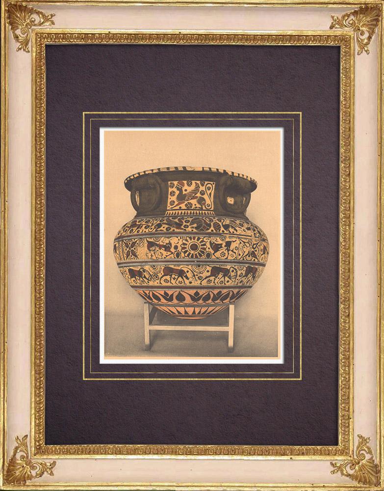 Grabados & Dibujos Antiguos | Jarrones griegos - Dino - Esfinge - Siglo VI (Cerveteri) | Heliograbado | 1929