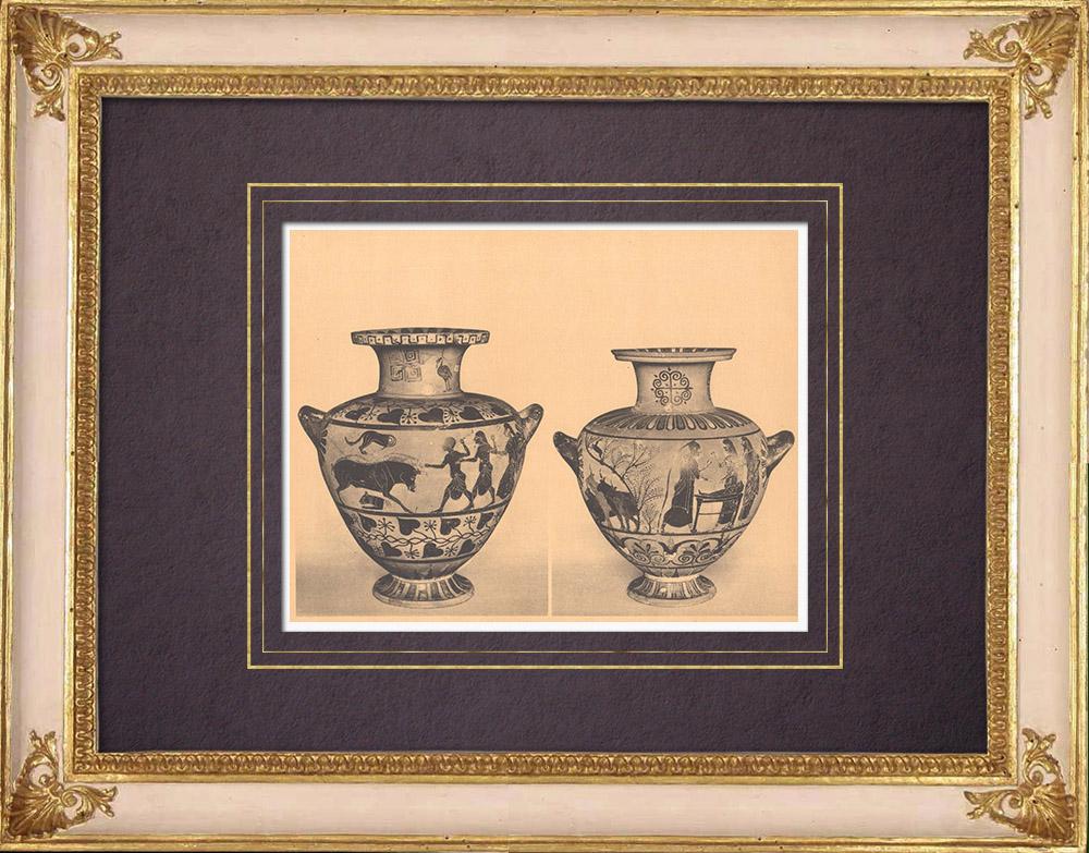 Grabados & Dibujos Antiguos   Jarrones griegos - Hidria - Caeré - Siglo VI (Cervetri)   Heliograbado   1929