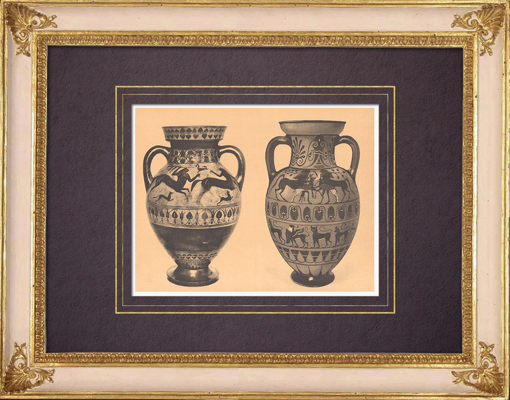 Antique Prints & Drawings | Greek vases - Ionian and Etruscan-Ionian Amphora - Centaur - VIth Century | Heliogravure | 1929