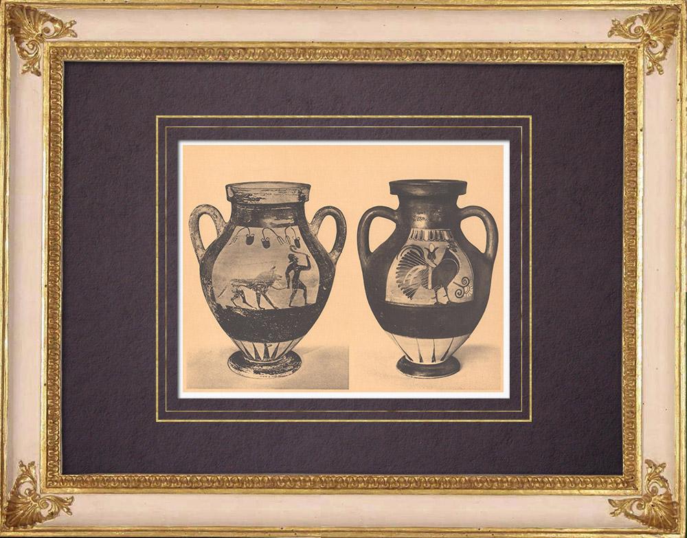 Gravures Anciennes & Dessins | Vases grecs - Amphores corinthienne et étrusco-ionienne - VIème Siècle (Italie) | Héliogravure | 1929