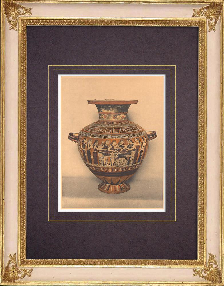 Grabados & Dibujos Antiguos | Jarrones griegos - Hidria corintia - Siglo VI (Cervetri) | Heliograbado | 1929