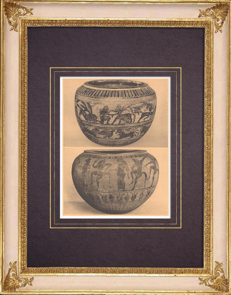 Gravures Anciennes & Dessins | Vases grecs - Dinos  - VIème Siècle (Cervetri) | Héliogravure | 1929