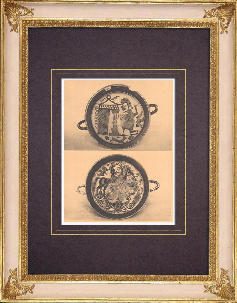Gravures Anciennes & Dessins   Vases grecs - Coupes lacono-cyrénéennes - VIème Siècle (Italie)   Héliogravure   1929