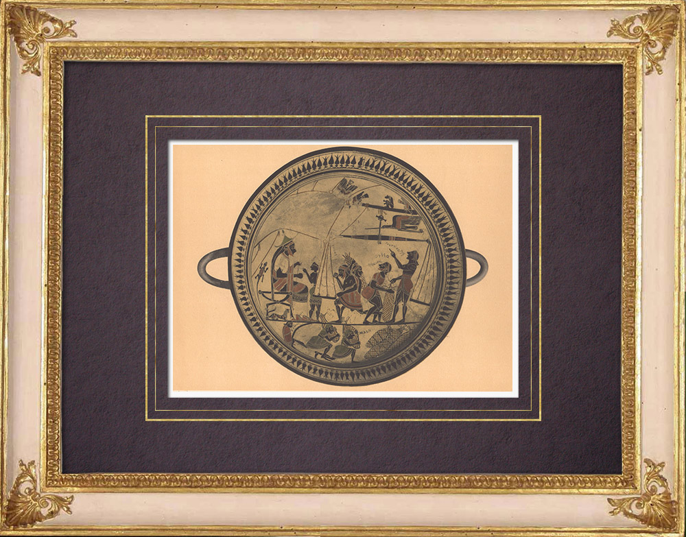 Antique Prints & Drawings   Greek vases - Cup - Arcésilas - VIth Century (Vulci)   Heliogravure   1929