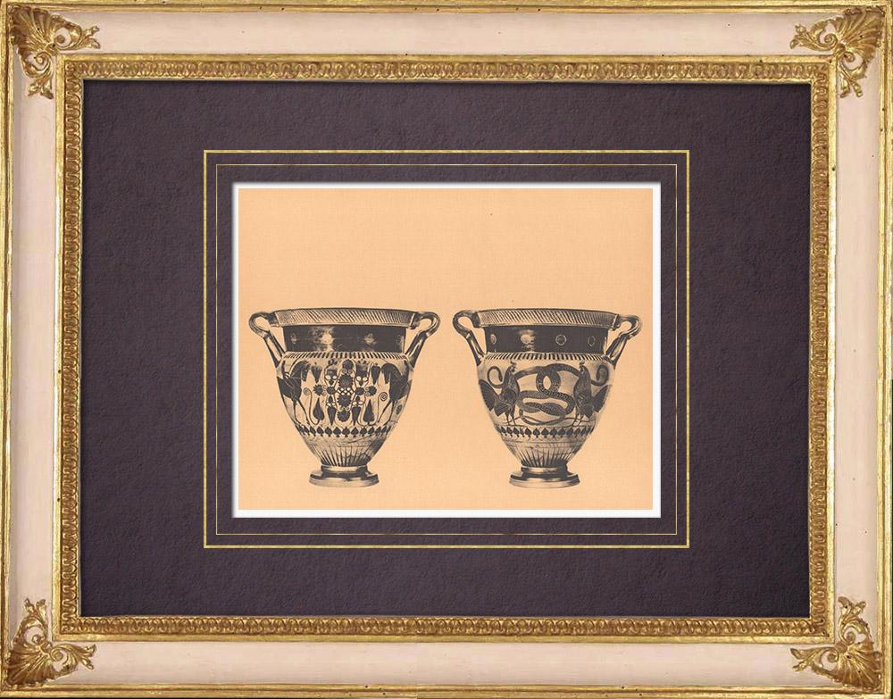 Gravures Anciennes & Dessins | Vases grecs - Cratère chalcidien - VIème Siècle (Vulci) | Héliogravure | 1929