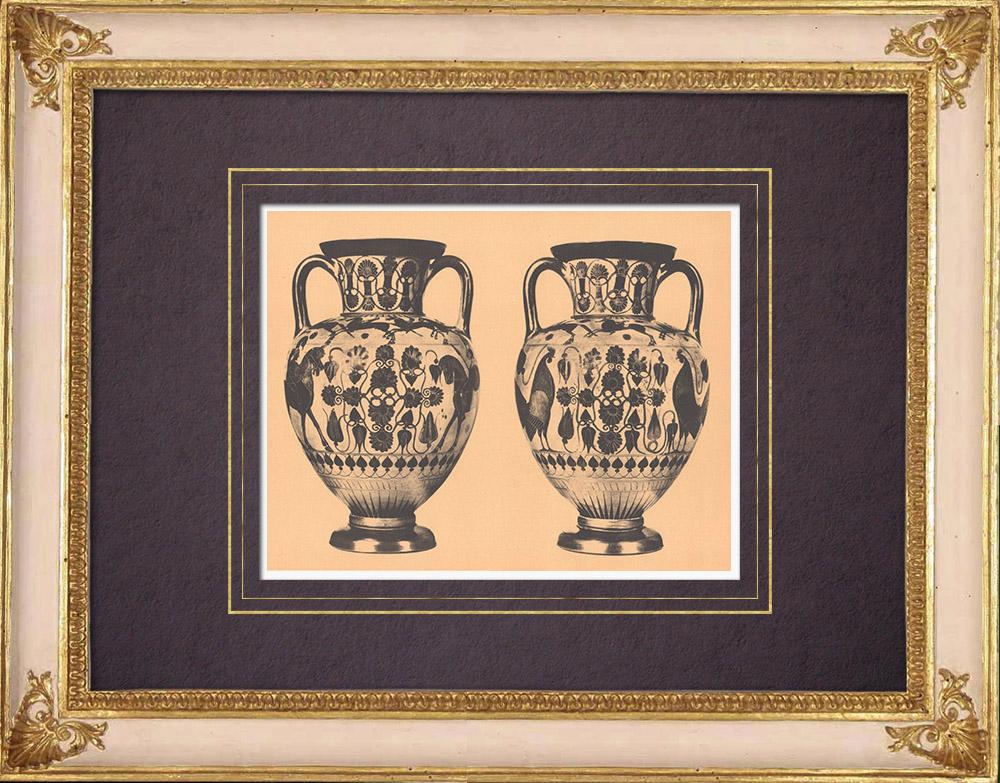 Antique Prints & Drawings | Greek vases - Amphora - Chalcis - VIth Century (Vulci) | Heliogravure | 1929