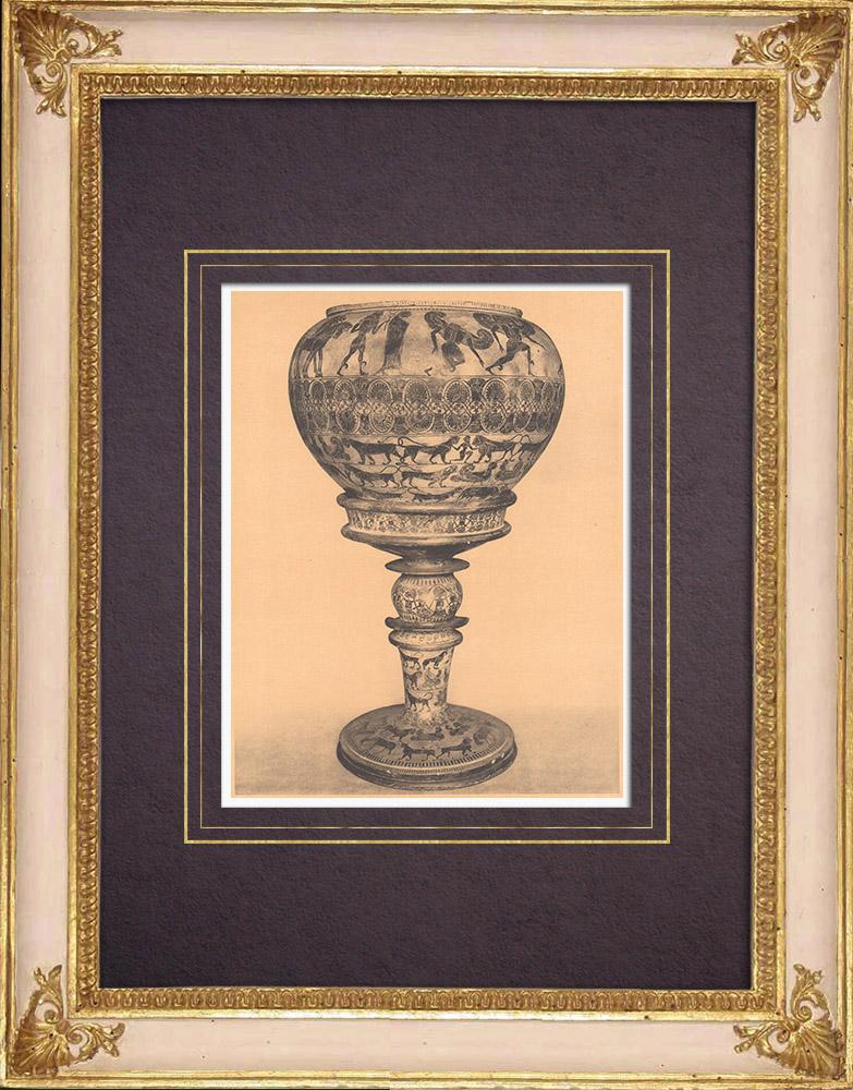 Gravures Anciennes & Dessins   Vases grecs - Dinos attique - Gorgone - 6ème Siècle avant J.-C. (Etrurie)   Héliogravure   1929