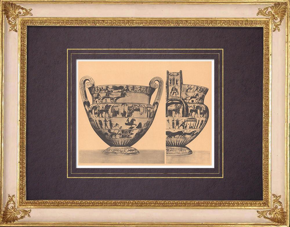 Antique Prints & Drawings | Greek vases - Krater - François Vase - 6th Century BC (Etruria) | Heliogravure | 1929