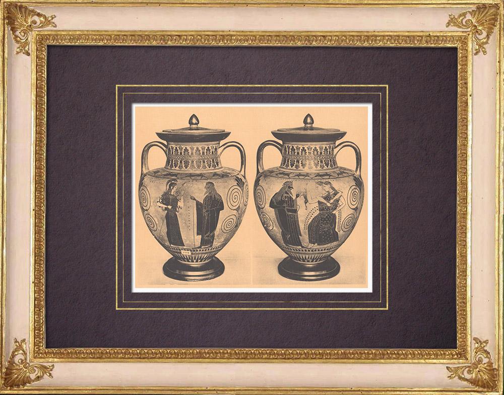 Antique Prints & Drawings   Greek vases - Amasis Amphora - VIth Century (Etruria)   Heliogravure   1929