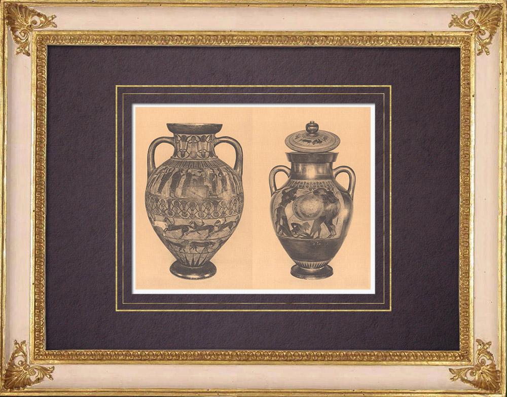 Gravures Anciennes & Dessins | Vases grecs - Amphore attique - Exékias - VIème Siècle (Italie) | Héliogravure | 1929