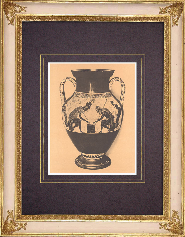 Gravures Anciennes & Dessins | Vases grecs - Amphore attique d'Exékias - VIème Siècle (Etrurie) | Héliogravure | 1929