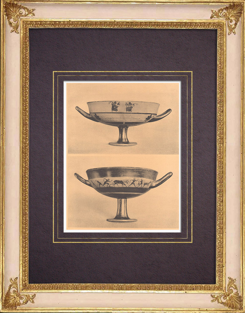 Gravures Anciennes & Dessins | Vases grecs - Coupe attique des Petits Maîtres - VIème Siècle (Etrurie) | Héliogravure | 1929