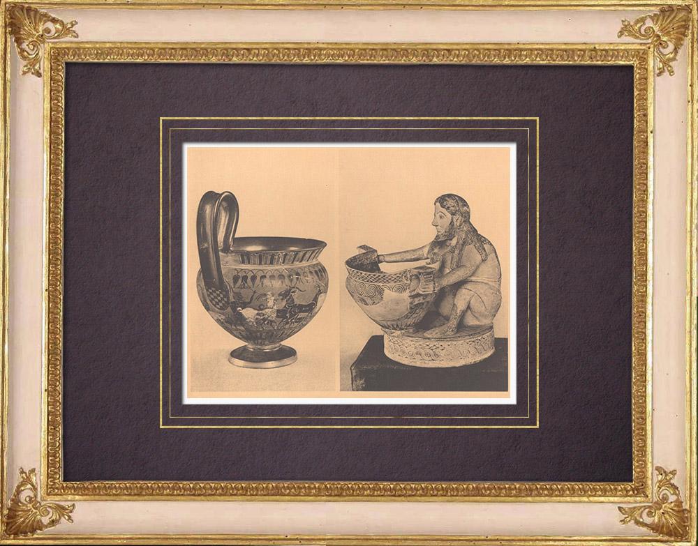 Grabados & Dibujos Antiguos | Jarrones griegos - Kyathos de Theozotos - Jaron corintio - Siglo VI (Vulci) | Heliograbado | 1929